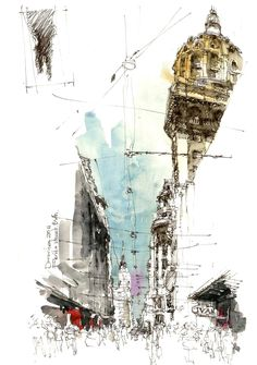 """""""I have learned that what I have not drawn, I have never really seen, and that when I start to draw an ordinary thing, I realise how extraordinary it is."""" –Frederick Franck Instructor: Norberto Dorantes (Argentina) Location: Prinsep Street"""