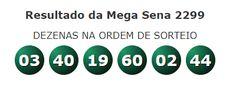 Resultado da Mega Sena 2299 – Terça – 15/09/2020 POSTED 15 DE SETEMBRO DE 2020 Confira o resultado da Mega Sena 2299, que foi realizado no dia 15/09/20 (Terça) às 20:00h, no Espaço Caixa Loterias, em São Paulo/SP. Os sorteios da Mega Sena são realizados sob a supervisão e responsabilidade da Caixa Econômica Federal. Resultado Mega Sena, Prize Draw, September, Box, Federal