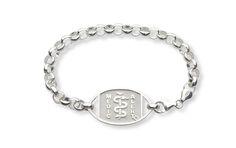 Sterling Silver Belcher Medical ID Bracelet - Standard Emblem   Australia MedicAlert Foundation    #medicalert #medical_ID #medical_bracelet #safety