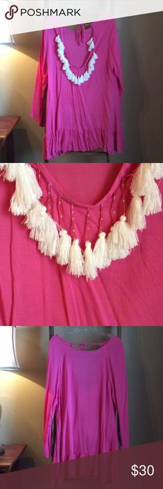 NWOT pink Tassel Bathing Suit Cover Up/ Dress NWOT. Never been worn. Bubblegum pink long sleeve dress with white tassels. Size medium. Smoke free home. sheinside Dresses