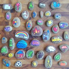 Hand Painted Story Stones Standard Set 20 by TheSweeterSideMom these would be fun for creative center play! Pebble Painting, Pebble Art, Stone Painting, Diy Painting, Cactus Painting, Pumpkin Painting, Food Painting, Painting Tutorials, Stone Crafts