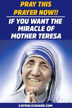 Prayer for Those Who Want the Miracle of the Holy Mother Teresa - CatholicShare Lent Prayers, Prayers To Mary, Novena Prayers, Prayers For Healing, Bible Prayers, Catholic Prayers, Healing Prayer, Everyday Prayers, Catholic Readings