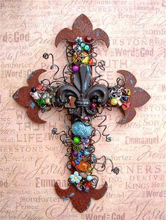 Fleurdelis Wall Cross Rusty Beaded Wire Wrapped by TotallyCrosses.  adore!
