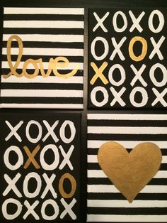"Black, White, Gold ""Urban Love"" Artwork, group of 4, 8""x10"" canvases by AnchorsandMore on Etsy https://www.etsy.com/listing/209445559/black-white-gold-urban-love-artwork"