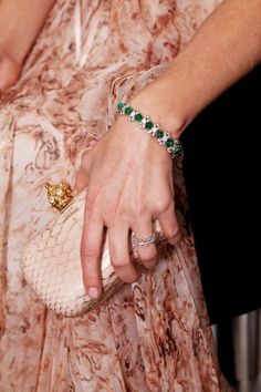 Met Gala 2012: Jemma Kidd's Emerald Cartier bracelet, Alexander McQueen snakeskin clutch and gown