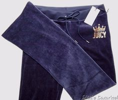 NWT Juicy Couture Women's M Velour Sweat Pants Crest Blue Gold Bling #JuicyCouture #CasualPants