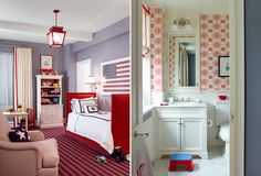 :: Ashley Whittaker Design ::Red+blue - Bathroom  |  Pinning for the bath--trying to figure out what to do with master bath attached to red/white/blue/khaki bedroom.