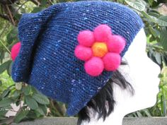 Pure Wool Slouchy Hat With Felt Flower Pin by TissaGibbons on Etsy, €25.00