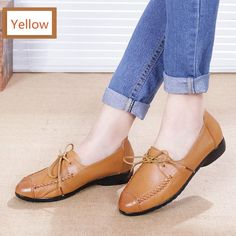 MUYANG MIE MIE Spring Autumn Women Shoes Fashion Genuine Leather Flat Shoes Woman Comfortable Lace-Up Casual Shoes Women Fl