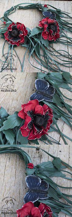 Колье из кожи Маки - вы будете в нем великолепны!!!! #колье_из_кожи #колье_с_маками #мак #украшение_из_кожи #вечернее_колье #leather_necklace #necklace_with_poppies #evening_necklace #poppy