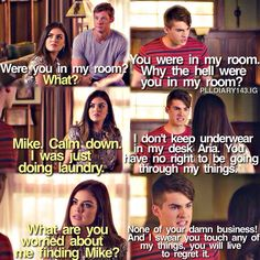 """""""Pretty Isn't the Point"""" - Mike, Aria and Andrew. Pretty Little Liars Meme, Pretty Little Liers, Tv Quotes, Funny Quotes, Cody Allen, Mike Montgomery, Brandon Jones, Pll Memes, Dry Sense Of Humor"""