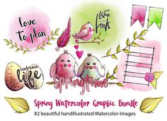 Cre8tive Cre8tions by Andrea Gomoll | Spring Watercolor Printables / Clipart for Plannersticker, Cards and other Papercrafts | http://andrea-gomoll.de