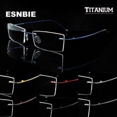 3d8b61fa0b Man Women Memory Titanium Rimless Eyeglass Frames for Men Flexible  Spectacles Glasses Eyewear Rx Clear Lens oculos de grau