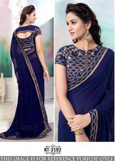 Cool Navy Blue Saree,Georgette saree,Plain saree,Threaded Embroidery work saree,Party Wear saree,buy saree online
