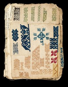 At some point fairly early in its history, the many small pieces of fabric included in this booklet were seamed together and loosely bound, to create a kind of glossary of colored and monochrome openwork patterns