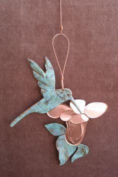 HUMMINGBIRD Copper Verdigris Ornament - Handcrafted in The Copper State (Arizona USA). $12.95, via Etsy.