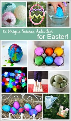 12 Unique Science Activities for Easter: Including an egg drop, glowing plastic eggs, making crystals, and all kinds of fizzy fun!