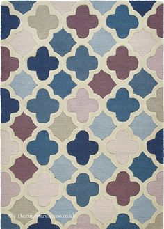Pink And Blue Rug, Wool Rugs, Types Of Rugs, Hand Tufted Rugs, Trellis, Contemporary, Modern, Pure Products, London
