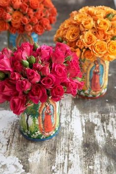 Painted Virgen de Guadalupe cans for flowers. Our Lady of Guadalupe Mexican Birthday Parties, Mexican Party, Mexican Style, Viva Color, Bouquet Champetre, Ikebana, Deco Floral, Jolie Photo, Party Themes