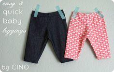 Easy and quick baby leggings tutorial. via craftinessisnotoptional.com