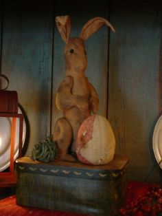 Prim Grungy Rabbit...with a tattered egg.  I have a box of plain rabbits 'somewhere'-- needing this.