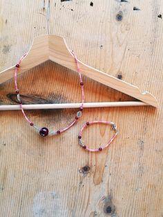Agata - Collana e bracciale agata rossa e rosa - un prodotto unico di Valeria-Draws su DaWanda