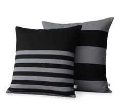 Masculine Striped Pillow Cover Set of 2 in Black and Grey Linen by JillianReneDecor - Modern Home Decor - Stripe Pillows (20x20) and (18x18)