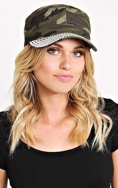 #FashionVault #styles for less #Women #Accessories - Check this : Camo Bling Cadet Hat - N/S - Olive Combo by Styles For Less for $14.99 USD
