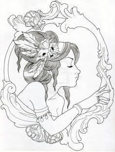 Gypsy in filigree frame tattoo design.