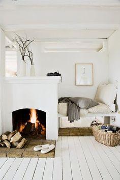 white | interior decoration | bedroom | bed | fireside