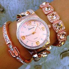 Geneva watch and soft pink gems Pink Love, Pretty In Pink, Jewelry Accessories, Fashion Accessories, Pink Jewelry, Fashion Jewelry, Everything Pink, Diamond Are A Girls Best Friend, Mode Style