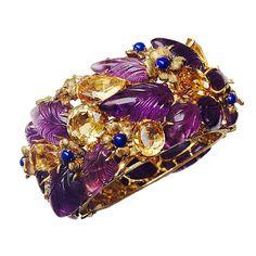 Buccellati Citrine Amethyst Lapis Gold Bracelet