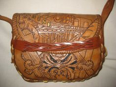 Vintage UNIQUE HANDCARVED Tooled Leather by VintageByThePound, $115.00