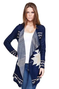 Brand New with Tags Women's Blue Aztec Print Open Cardigan Sweater S/M #Yetts #Cardigan