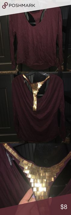 Maroon Long Sleeve Victoria's Secret Top Size medium! Didn't even know I had this so I probably wore it once 😂 no gold beads missing for the back! Victoria's Secret Tops Tees - Long Sleeve
