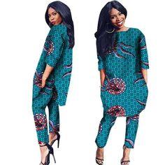 African Cotton Print Women Sleeve Outwear Shirt Dress with Pants Afrikanische Frauen, African Dresses For Women, African Print Dresses, Dress Shirts For Women, African Attire, African Wear, Pants For Women, Clothes For Women, African Style, African Shirt Dress