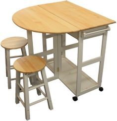 MARIBELLE FOLDING TABLE AND STOOL SET KITCHEN BREAKFAST BAR WHITE | eBay