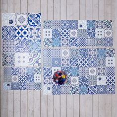 Spanish Blues Tile Mats - Rugs & Animal Skins - Wall & Floors - Home Accessories