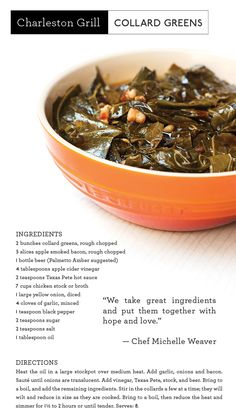 """Want to know the secret behind Chef Michelle Weaver's sensational collard greens? She adds """"hope and love"""" to every pot!"""