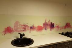 Placare cu sticla printata - Geamuri si oglinzi de la OpriCristal Santorini, Yorkie, Kitchen, Painting, Art, Art Background, Yorkies, Cooking, Yorkshire Terrier