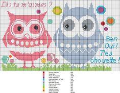 chouette- great - amoureux - love - Point de croix - cross stitch - Blog : http://broderiemimie44.canalblog.com/