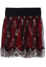 To find out about the Red Elastic Waist Mesh Yoke Skull Lace Skirt at SHEIN, part of our latest Skirts ready to shop online today! Metal Fashion, Skirt Pants, Shorts, Clothing Sites, Short Skirts, Elastic Waist, Lace Skirt, What To Wear, Cool Outfits