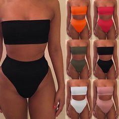 1bc5aa2622b5c 4 Colors Black white women sexy Swimsuit Wrap Style Bikini Set Tube top  Bathing Suit Swimwear For Women Bather biquinis feminino