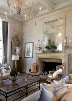 80 Amazing French Country Living Room Decor Ideas - Page 13 of 85 French Country House, Living Room Furniture, Country Decor, Living Room Decor, Home Decor, Country House Decor, French Living Rooms, French Living Room Design, French Country Kitchens