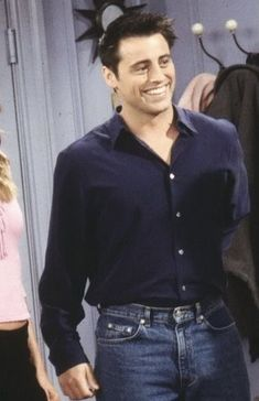 Denim Button Up, Button Up Shirts, Joey Friends, Matt Leblanc, Friend Outfits, Almost Perfect, Cat, Tops, Fashion
