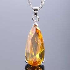 Unique Jewelry - Melina Jewelry Long Pear Yellow Citrine White Gold Plated Pendant Free Necklace