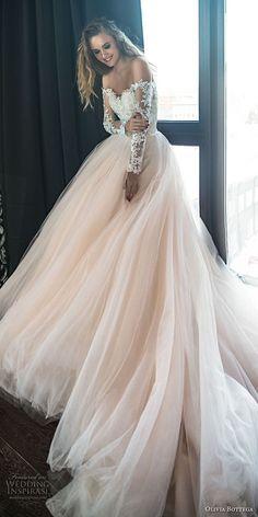 Olivia Bottega 2018 Braut lange Ärmel weg von der Schulter Schatzausschnitt stark verzierte Mieder Prinzessin romantische erröten Ballkleid Hochzeitskleid königlichen Zug (1) mv