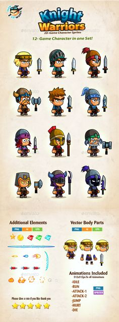 12 Knights Character Sprites — Vector EPS #iphone #ios • Download ➝ https://graphicriver.net/item/12-knights-character-sprites/15879678?ref=pxcr