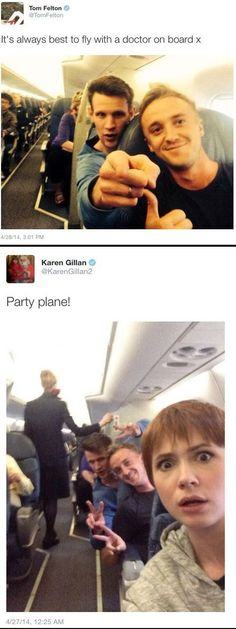 This Plane Goes to Gallifrey With a Short Layover at Hogwarts - First class with Matt smith, Tom Felton, and Karen Gillian! Hogwarts, Drarry, Johnlock, Dramione, Rasengan Vs Chidori, Funny Memes, Hilarious, Funny Quotes, Wtf Funny