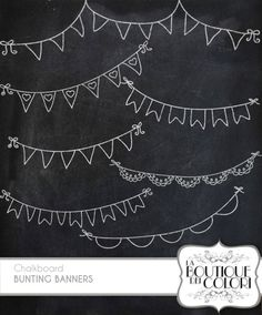 70%  OFF chalkboard Bunting Banners doodle cliparts Digital Clip Art. Party Clipart Printable Download for Personal and Commercial Use. PNG